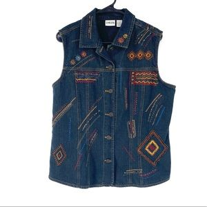 Chico's Women's Vintage Embroidered Denim Vest Sz2